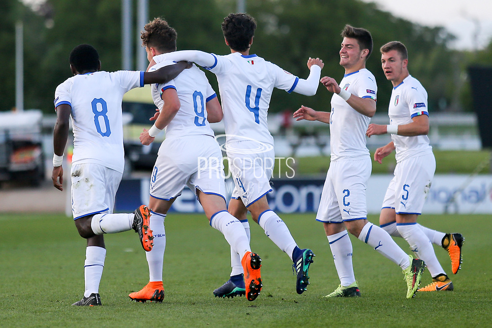Edoardo Vergani of Italy (9) scores during the UEFA European Under 17 Championship 2018 match between Israel and Italy at St George's Park National Football Centre, Burton-Upon-Trent, United Kingdom on 10 May 2018. Picture by Mick Haynes.