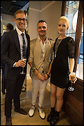 MICHAEL BRUNERO; JOSEPH PORPIGLIA; MILLIE WATSON;  Dinosaur Designs launch of their first European store in London. 35 Gt. Windmill St. 18 September 2014