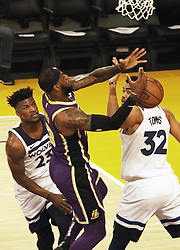 November 7, 2018 - Los Angeles, California, U.S - LeBron James #23 of the Los Angeles Lakers is blocked by Karl-Anthony Towns #32 of the Minneapolis Timberwolves during their NBA game on Wednesday November 7, 2018 at the Staples Center in Los Angeles, California. Lakers defeat Timberwolves, 114-110. (Credit Image: © Prensa Internacional via ZUMA Wire)