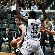 Anadolu Efes's Stanko Barac (L) during their Turkish Basketball league derby match Besiktas between Anadolu Efes at the BJK Akatlar Arena in Istanbul Turkey on Saturday 31 December 2011. Photo by TURKPIX