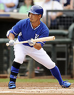 SURPRISE, AZ - MARCH 06:  Norichika Aoki #23 of the Kansas City Royals bats against the Chicago White Sox on March 6, 2014 at The Ballpark in Surprise in Surprise, Arizona. (Photo by Ron Vesely)   Subject: Norichika Aoki