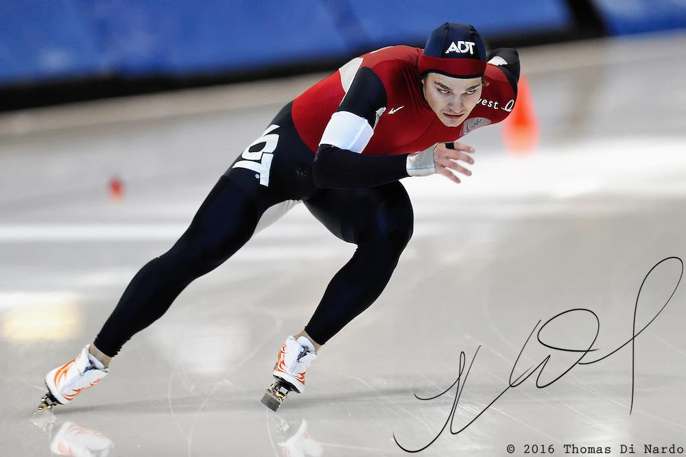 September 18, 2010 - Kearns, Utah - Joey Lindsey races in long track speedskating time-trials held at the Utah Olympic Oval.