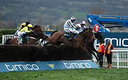 Rock The World ridden by jockey Robbie Power (front right) on the way to winning the Johnny Henderson Grand Annual Challenge Cup Handicap Chase during Gold Cup Day of the 2017 Cheltenham Festival at Cheltenham Racecourse.