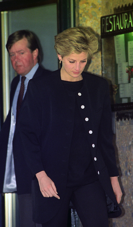 The Princess of Wales leaves her hotel in Lech, Austria, as she cuts short her family skiing holiday to fly back to London after an announcement that her father, Earl Spencer, had died.