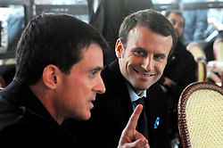 French Prime Minister Manuel Valls and Minister of the Economy, Industry and the Digital Sector Emmanuel Macron enjoy warm drinks along with Minister of Education, Hig ander Education and Research Najat Vallaud-Belkacem and Secretary of State for Relations with Parliament Jean-Marie Le Guen in a cafe on the Champs-Elysees after the Armistice Day ceremony, in Paris, France on November 11, 2015. Photo by Alain Apaydin/ABACAPRESS.COM
