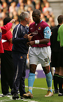Photo: Frances Leader.<br />Fulham v West Ham. The Barlcays Premiership.<br />17/09/2005.<br />West Ham's mangager Alan Pardew congratulates Marlon Harewood as he is replaced in the second half.