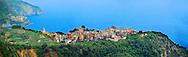 Photo of the hilltop Village of Corniglia, Cinque Terre National Park, Ligurian Coast, Italy
