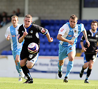 Photo: Mark Stephenson/Richard Lane Photography. <br /> Chester City v  Macclesfield Town. Coca-Cola Football League Two. 03/05/2008. <br /> Macclesfield's John Rooney tyies to go past Chester's Kevin Roberts