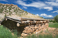 Log cabins at Grosvener W. Barry's Hillsboro and Cedarvale Dude Ranch, Bighorn Canyon National Monument Montana