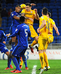 Jordan Hugill of Preston North End and Lee Peltier of Cardiff City head the highball  - Mandatory by-line: Nizaam Jones/JMP - 29/12/2017 -  FOOTBALL - Cardiff City Stadium - Cardiff, Wales -  Cardiff City v Preston North End - Sky Bet Championship