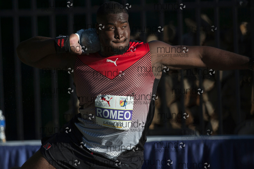 Toronto, ON -- 10 August 2018: Hezekiel Romeo (Trinidad and Tobago), shot put at the 2018 North America, Central America, and Caribbean Athletics Association (NACAC) Track and Field Championships held at Varsity Stadium, Toronto, Canada. (Photo by Sean Burges / Mundo Sport Images).