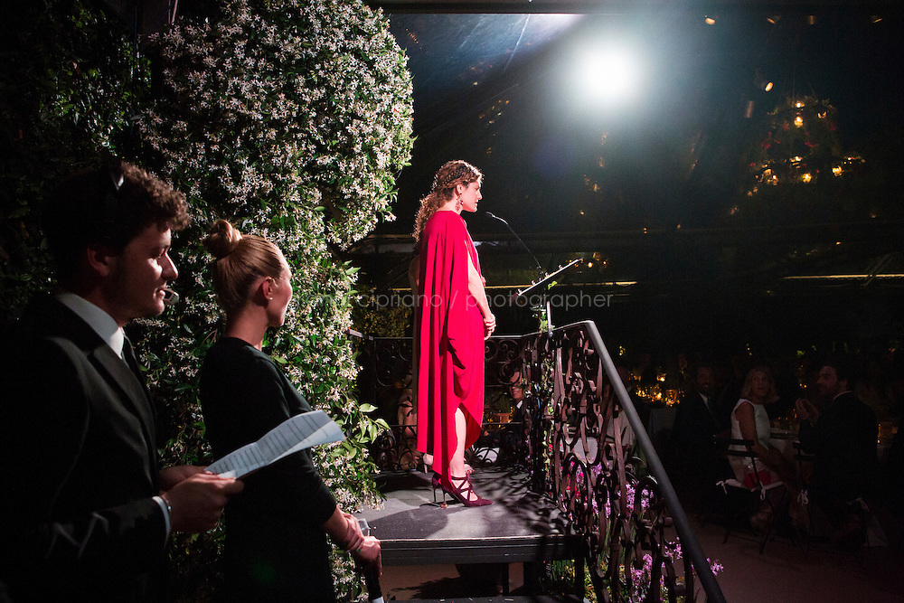 ROME, ITALY - 3 JUNE 2015: Gala Chair Ginevra Elkann gives a speech at the McKim Medal Gala honouring Carlo Petrini and Paolo Sorrentino at the American Academy  in Rome, Italy, on June 3rd 2015.