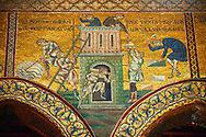Byzantine mosaics in the Cathedral of Monreale- Building the Tower of Babel  - Palermo - Sicily Pictures, photos, images & fotos photography .<br /> <br /> If you prefer you can also buy from our ALAMY PHOTO LIBRARY  Collection visit : https://www.alamy.com/portfolio/paul-williams-funkystock/monrealeduomomosaics.html. Refine search by adding subject etc  into the LOWER SEARCH WITHIN GALLERY box. <br /> <br /> Visit our BYZANTINE MOSAIC PHOTO COLLECTION for more   photos  to download or buy as prints https://funkystock.photoshelter.com/gallery-collection/Roman-Byzantine-Art-Artefacts-Antiquities-Historic-Sites-Pictures-Images-of/C0000lW_87AclrOk