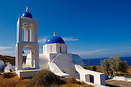 Blue domed Greek Orthodox church and bell tower near oia (Ia), Santorini, Greece .<br /> <br /> If you prefer to buy from our ALAMY PHOTO LIBRARY  Collection visit : https://www.alamy.com/portfolio/paul-williams-funkystock/santorini-greece.html<br /> <br /> Visit our PHOTO COLLECTIONS OF GREECE for more photos to download or buy as wall art prints https://funkystock.photoshelter.com/gallery-collection/Pictures-Images-of-Greece-Photos-of-Greek-Historic-Landmark-Sites/C0000w6e8OkknEb8