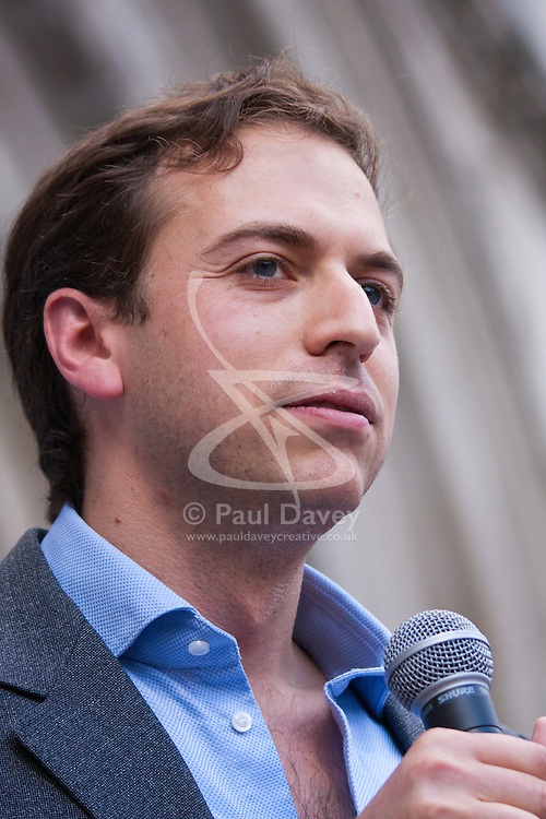 """Royal Courts of Justice, London,  August 31st 2014. Organiser Gideon Falter from the Campaign against Antisemitism speaks as thousands of Jews and their supporters from London and across the UK demand """"Zero Tolerance for Antisemites""""."""