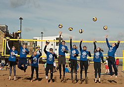 Today marks one year to go before the next Commonwealth Games get underway in Gold Coast, Australia. Athletes from a number of sports joined Scottish Beach Volleyball players, including top duo Lynne Beattie and Mel Coutts, on the new permanent courts on Portobello Beach this morning. The athletes joined with children from Towerbank Primary School to try out the game in the Portobello sunshine.   Pictured: Seonaid McIntosh, Claire Brownie, Beck Merchant, Seain Cooke, Robin Miedzybrodzki, Lynne Beattie, Mel Coutts, Sarah Thomson, Scott Riddell <br /> <br /> <br /> © Jon Davey/ EEm