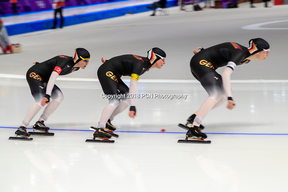 German women Roxanne Dufter #1, Gabriele Hirschbichler #2, Claudia Pechstein #3 compete in the speed skating ladies team pursuit quarterfinals at the Olympic Winter Games PyeongChang 2018