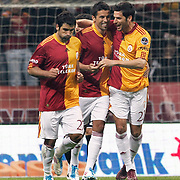 Galatasaray's Milan BAROS (C) celebrate his goal with team mate during their Turkish Super League soccer match Galatasaray between Kasimpasaspor at the TT Arena at Seyrantepe in Istanbul Turkey on Monday 09 May 2011. Photo by TURKPIX