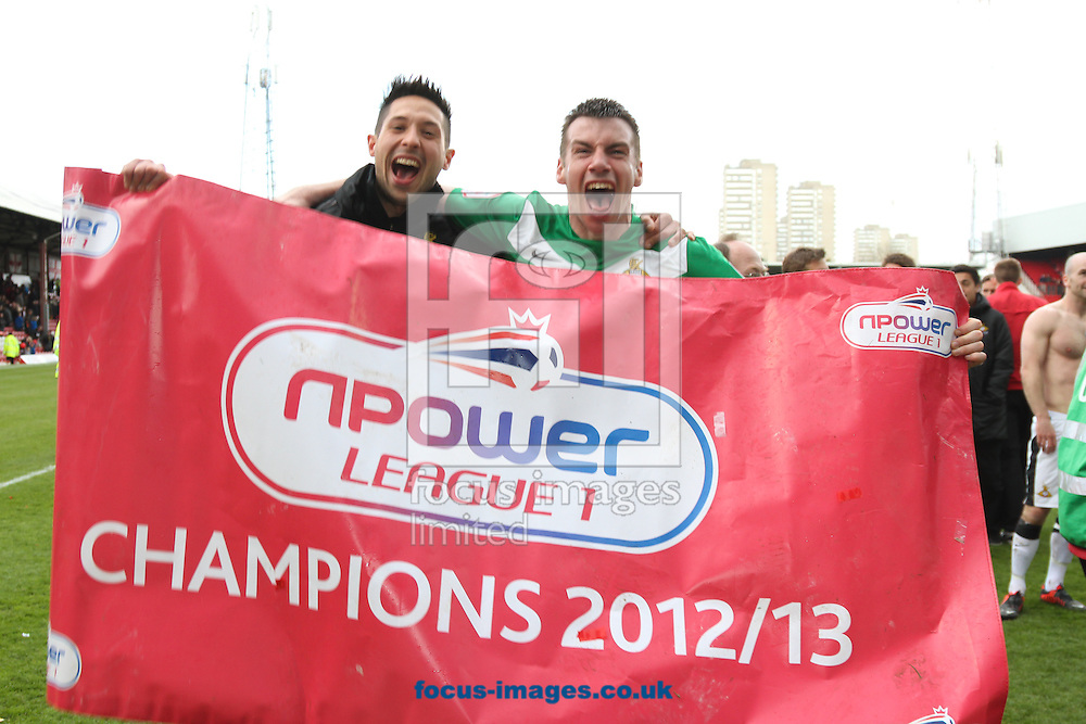 Picture by David Horn/Focus Images Ltd +44 7545 970036.27/04/2013.Doncaster Rovers celebrate winning the nPower League 1 Championship after the npower League 1 match at Griffin Park, London.