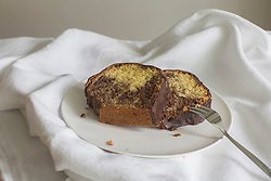 Two marble cake slices served on plate