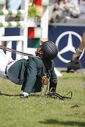 Alvaro de Miranda Neto after his fall at the showjumping in Aachen<br /> CHIO Aachen 2008<br /> Photo © Hippo Foto