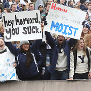 NEW HAVEN, CONNECTICUT - NOVEMBER 18: Yale fans during the Yale V Harvard, Ivy League Football match at the Yale Bowl. Yale won the game 24-3 to win their first outright league title since 1980. The game was the 134th meeting between Harvard and Yale, a historic rivalry that dates back to 1875. New Haven, Connecticut. 18th November 2017. (Photo by Tim Clayton/Corbis via Getty Images)