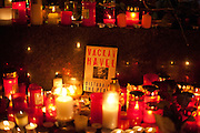 Havel was a Czech playwright, essayist, poet, dissident and politician. After the announcement of his death spontaneously thousands of people People are meeting on Wenceslas Square and other places in Prague to commemorate the death of former Czech President Vaclav Havel with flowers and candles.