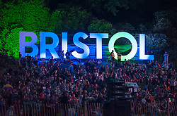 © Licensed to London News Pictures. 11/08/2016. Bristol, UK. Bristol International Balloon Fiesta 2016. Picture of 'Bristol' sign. The Bristol International Balloon Fiesta is Europe's largest ballooning event and takes place from Thursday 11th August – Sunday 14th August, attracting half a million people over four days. This year 150 hot air balloons will attend, taking off in mass ascents at dawn and dusk. On Thursday and Saturday evenings, 30 balloons will tether in the main arena and light up in sequence to music for the famous Night Glows. Photo credit : Simon Chapman/LNP