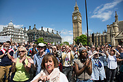Tens of thousands of people gather in Parliament Square during the March for Europe against Brexit demonstration following a 'Leave' result in the EU Referendum on July 2nd 2016 in London, United Kingdom. The march in the capital brings together protesters from all over the country, angry at the lies and misinformation that the Leave Campaign fed to the British people during the EU referendum. Since the vote was announced, there have been demonstrations, protests and endless political comment in all forms of media. Half of the country very displeased with the result and the prospect of being taken out of the European Union against their will, and with uncertainty as to what will happen next in the politics surrounding the exit from Europe.