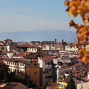 FLORENCE, ITALY - NOVEMBER 01: A view of Florence from the Giardino delle Rose below the Piazzale Michelangelo in Florence, Italy, 1st November 2017. Photo by Tim Clayton/Corbis via Getty Images)