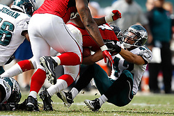 Philadelphia Eagles safety Kurt Coleman #42 tackles the Falcons ball carrier during the NFL Game between the Philadelphia Eagles and the Atlanta Falcons. The Eagles won 31-17 at Lincoln Financial Field in Philadelphia, Pennsylvania on Sunday October 17th 2010. (Photo By Brian Garfinkel)