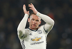 Manchester United's Wayne Rooney celebrates after the final whistle during the EFL Cup Semi Final, Second Leg match at the KCOM Stadium, Hull.