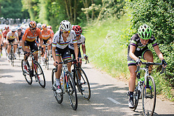 Lizzie Armitstead closes down an attack from Floortje Mackaij at Boels Hills Classic 2016. A 131km road race from Sittard to Berg en Terblijt, Netherlands on 27th May 2016.