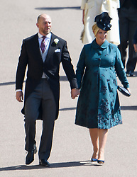 © Licensed to London News Pictures. 19/05/2018. London, UK. MIKE AND ZARA TINDALL arrive at The wedding of Prince Harry, The Duke of Sussex to Meghan Markle, The Duchess of Sussex, at St George's Chapel in Windsor. Photo credit: Ben Cawthra/LNP