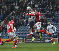 Preston North End's Patrick Bauer jumps with Middlesbrough's Jonathan Howson<br /> <br /> Photographer Mick Walker/CameraSport<br /> <br /> The EFL Sky Bet Championship - Preston North End v Middlesbrough - Wednesday 1st January 2020 -  Deepdale Stadium - Preston<br /> <br /> World Copyright © 2020 CameraSport. All rights reserved. 43 Linden Ave. Countesthorpe. Leicester. England. LE8 5PG - Tel: +44 (0) 116 277 4147 - admin@camerasport.com - www.camerasport.com