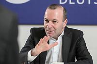 18 FEB 2019, BERLIN/GERMANY:<br /> Manfred Weber, MdEP; CSU, Spitzenkandidat der EVP fuer das Amt des EU-Kommissionspraesidenten, waehrend einem Interview, Bundesgeschaeftsstelle der Jungen Union<br /> IMAGE: 20190218-01-0