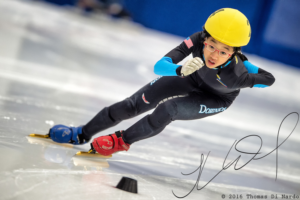 March 20, 2016 - Verona, WI - Anna Kim, skater number 24 competes in US Speedskating Short Track Age Group Nationals and AmCup Final held at the Verona Ice Arena.