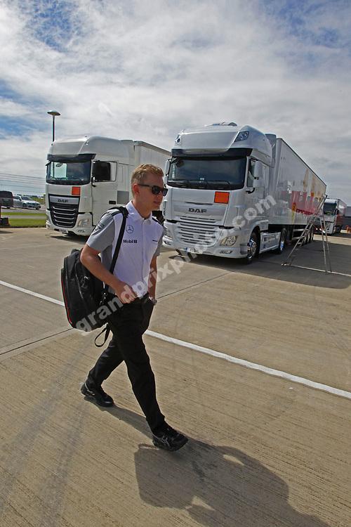 Kevin Magnussen (McLaren-Mercedes) arrives for the 2014 British Grand Prix in Silverstone. Photo: Grand Prix Photo