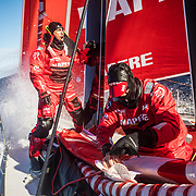 Leg 7 from Auckland to Itajai, day 04 on board MAPFRE, Guillermo Altadill giving instructions to people with the ropes during a pilling, Antonio Cuervas-Mons setting up the new sail. 21 March, 2018.
