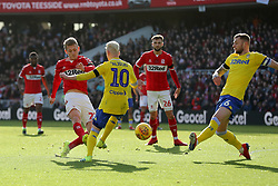 Middlesbrough's George Saville goes close during the Sky Bet Championship match at The Riverside Stadium, Middlesbrough.