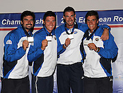 Marathon, GREECE, Men's fours presentation  for the 2008  FISA European Rowing Championships, at the Club Med. 20/09/2008  [Mandatory Credit Peter Spurrier/ Intersport Images] , Rowing Course; Lake Schinias Olympic Rowing Course. GREECE