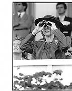 Duchess pf Gloucester. Arc de triomphe. Longchamp. Paris. 1985 approx.  © Copyright Photograph by Dafydd Jones 66 Stockwell Park Rd. London SW9 0DA Tel 020 7733 0108 www.dafjones.com