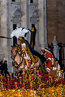 A paso (float) of Jesus Christ carrying the cross in the procession of the Brotherhood (Hermandad) Esperanza de Triana, Holy Week (Semana Santa), Seville, Andalusia, Spain.