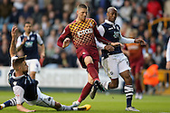Jamie Proctor of Bradford City © shoots and scores his sides 1st goal to make it 1-1. Skybet football league one play off semi final 2nd leg match, Millwall v Bradford city at The New Den in London on Friday 20th May 2016.<br /> pic by John Patrick Fletcher, Andrew Orchard sports photography.