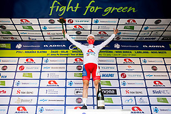 Overall best young rider Kristijan HOCEVAR of ADRIA MOBIL celebrates at trophy ceremony during the 5th Stage of 27th Tour of Slovenia 2021 cycling race between Ljubljana and Novo mesto (175,3 km), on June 13, 2021 in Slovenia. Photo by Vid Ponikvar / Sportida