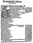 First page of St Matthew's Gospel from William Tyndale's (c1494-1536) English 'New Testament' printed Cologne 1525.