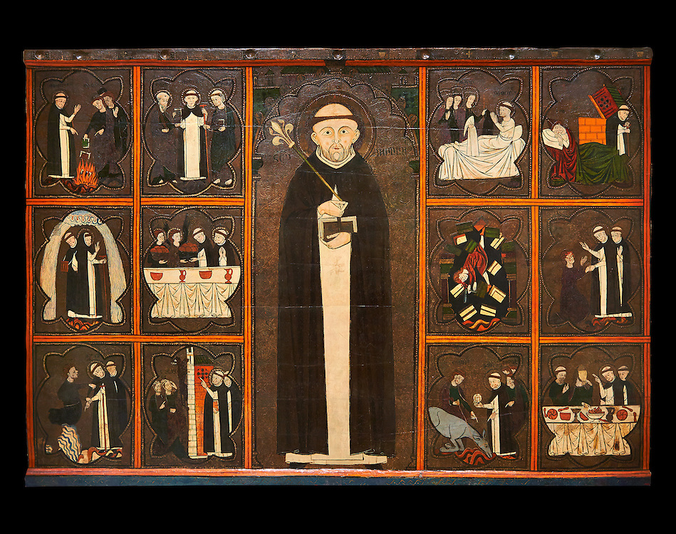Gothic painted Panel of the life of Saint Dominic, anonymous artist from Aragon. Tempera and varnished metal plate on wood. First quarter of 14th century. 134 x 193 x 8.3 cm. From the church of Sant Miquel de Tamarit de Llitera (Huesca). National Museum of Catalan Art, inv no: 015825-000 .<br /> <br /> If you prefer you can also buy from our ALAMY PHOTO LIBRARY  Collection visit : https://www.alamy.com/portfolio/paul-williams-funkystock/romanesque-art-antiquities.html<br /> Type -     MNAC     - into the LOWER SEARCH WITHIN GALLERY box. Refine search by adding background colour, place, subject etc<br /> <br /> Visit our ROMANESQUE ART PHOTO COLLECTION for more   photos  to download or buy as prints https://funkystock.photoshelter.com/gallery-collection/Medieval-Romanesque-Art-Antiquities-Historic-Sites-Pictures-Images-of/C0000uYGQT94tY_Y