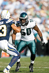Philadelphia Eagles linebacker Will Witherspoon #50 during the NFL game between the Philadelphia Eagles and the San Diego Chargers on November 15th 2009. At Qualcomm Stadium in San Diego, California. (Photo By Brian Garfinkel)