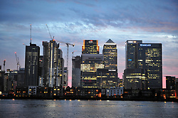 © Licensed to London News Pictures. 23/06/2017. <br /> GREENWICH, UK.<br /> A view of Canary Wharf from North Greenwich near the O2 tonight on a warm evening in London.<br /> Photo credit: Grant Falvey/LNP