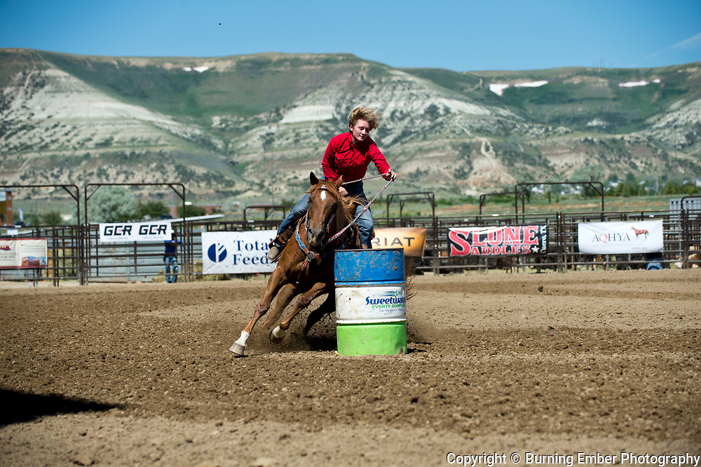 Della Woodworth in the Barrel Racing Event Friday 1st round event at the Wyoming State High School Finals Rodeo in Rock Springs Wyoming.  Photo by Josh Homer/Burning Ember Photography.  Photo credit must be given on all uses.